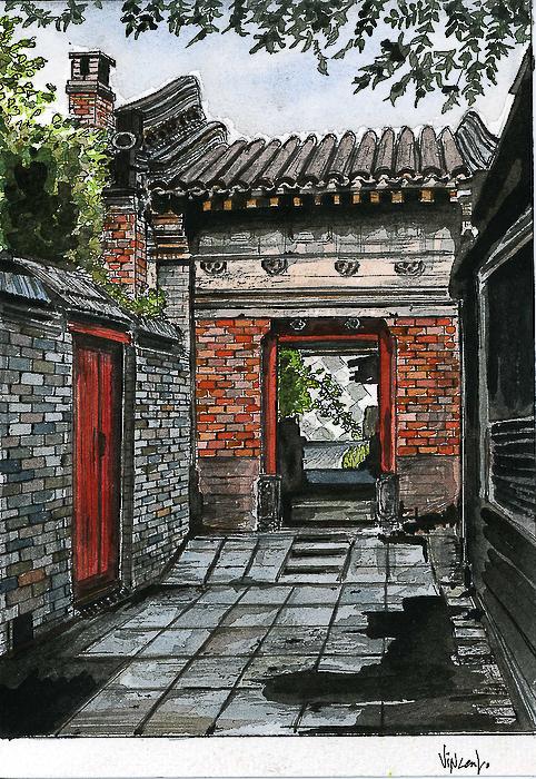 Aquarelle, Chine, Beijing, dans les hutongs, mai 2007