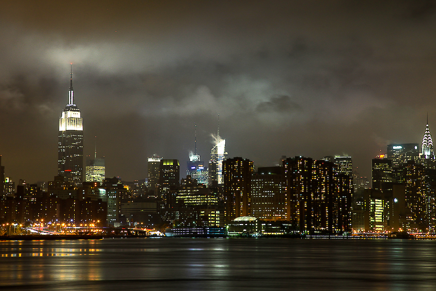 USA, New York, vue de Brooklyn sur la skyline, novembre 2010