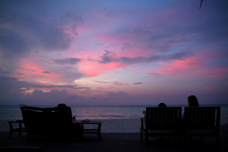 Maldives, impression soleil couchant, décembre 2006