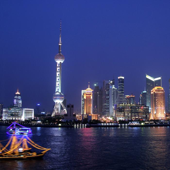 Chine, Shanghai, vue sur Pudong depuis le Bund, mai 2007
