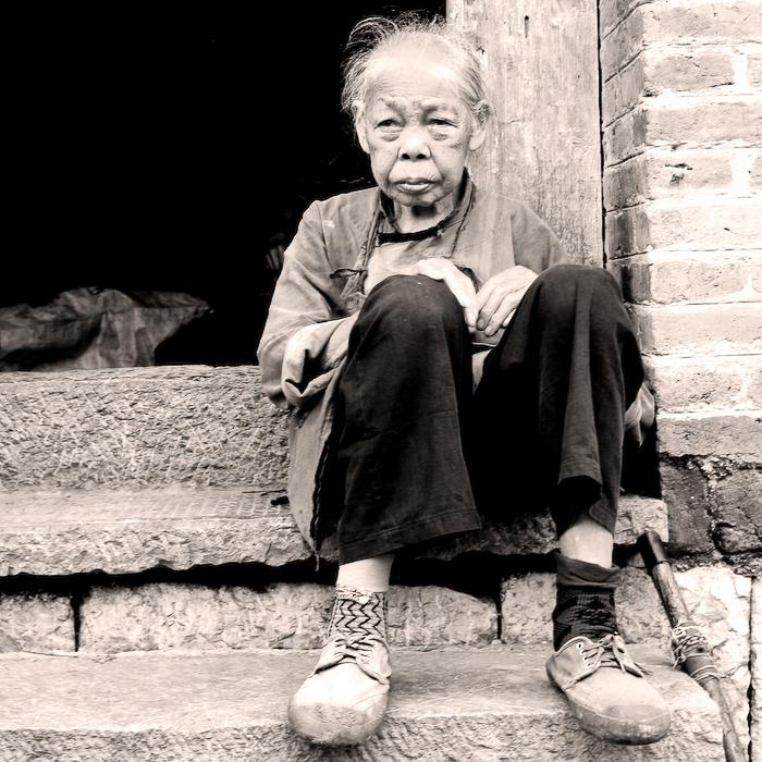 Chine, Guillin, la centenaire, mai 2007
