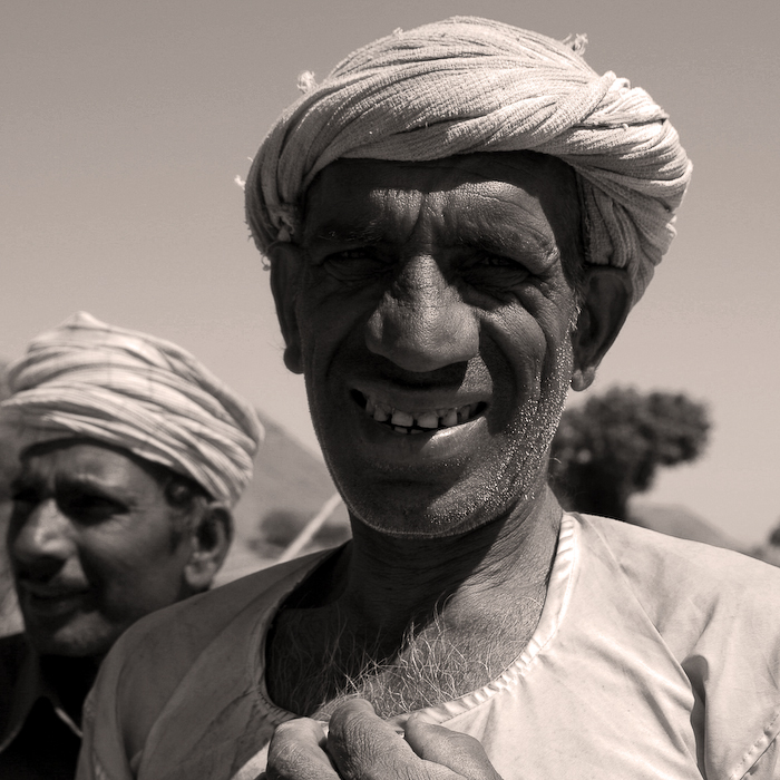 Inde, Rajasthan, portrait de paysan, mars 2008