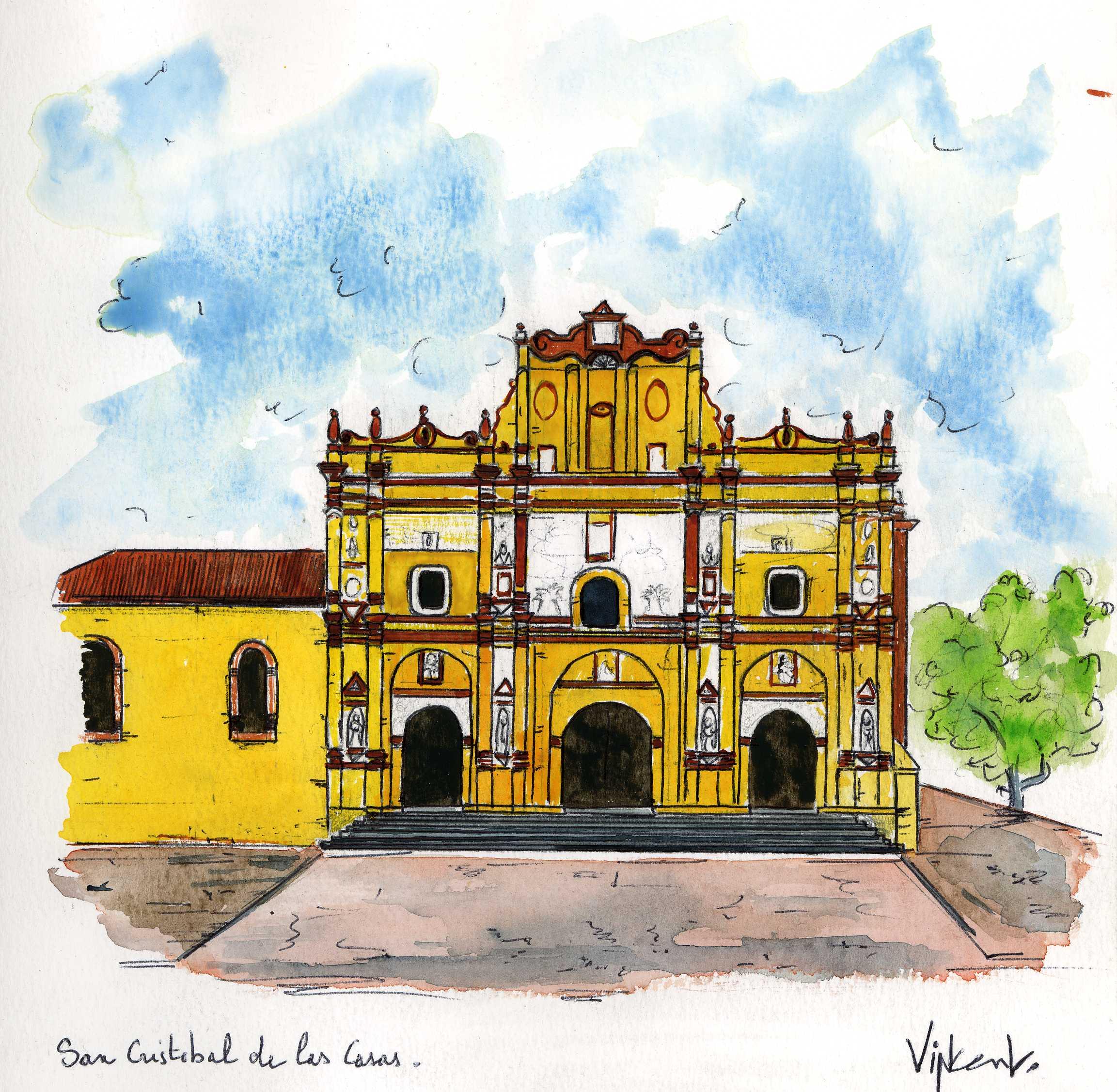 Aquarelle, Mexique, San Cristobal de las Casas, février 2005
